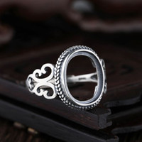 Wholesale Oval Cabochon Settings - Sterling Silver 925 Vintage Retro Engagement Semi Mount Ring for Round Oval Cabochon 11x11mm 13x18mm 10x13mm 9x12mm Setting