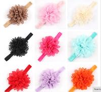 schäbige schicke haarzusätze großhandel-5% weg Großhandelskind-Stirnbänder Shabby Chic blüht Perlen-Rhinestone-Chiffon- Blumen-Baby-Stirnband-Mädchenhaar-Zusätze 10pcs / lot