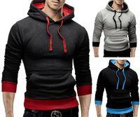 Wholesale Side Zip Hoodie Jacket - Hedging side zip hit color sweater baseball shirt Hoodie sports jacket casual hooded sweater