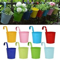 Wholesale Iron Pots Holder - 8psc  Lot Hanging Flower Pots Garden Pots Balcony Planters Metal Iron Bucket Flower Holders With Detachable Hook Home Decor