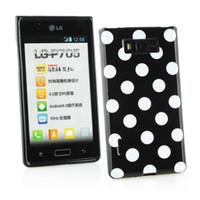étuis de téléphone optimus lg achat en gros de-Hot Lovely TPU Polka Dots Style Retour cas de couverture de peau pour LG Optimus L7 P705 Soft Phone Case Gratuit