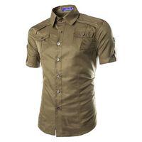 Wholesale Solid Color Dress Shirts Men - 2016 summer new fashion Pure color shirts men shirt Short Sleeve man's business casual shirt Slim camisa 6 color Dress Shirts