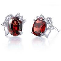 Wholesale Burgundy Crystal Earrings - Flammable volcano S925 silver garnet earrings female fashion natural burgundy garnet crystal earrings
