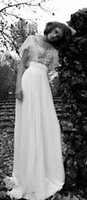 Wholesale Embroidery Trumpet Wedding Dress - 2015 New Beach Wedding Dresses With Trumpet Short Sleeves Sheer Bateau Neck Embroidery Boho Style Chiffon Tulle Sexy Bridal Dress Gowns