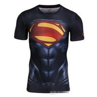 Wholesale Wholesale Custom Made Men S - Custom made Design 3d Super hero t shirts High elastic compression tight Avengers T-shirt sports fitness crew Tees DHl free
