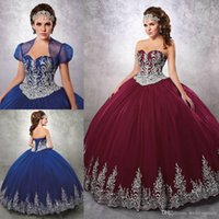 Wholesale White Quinceanera Dresses Sweetheart Neckline - Burgundy Beaded Ball Gown 2017 Quinceanera Dresses Sweetheart Neckline Appliques Prom Gowns With Jacket Tulle Lace-up Back Sweet 16 Dress