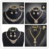 Wholesale 18 K White Gold Jewelry - fashion 18 K gold plated jewelty set Necklace +bracelet +ring +eatting one set woman jewerly hot sale wedding jewelry