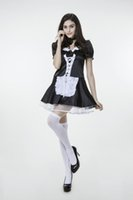Wholesale cosplay sexy hot maid for sale - 2017 New Black White Plus Maid Dress With Stockings Uniform Temptation Sexy Cosplay Halloween Costumes Club Performance Clothing Hot Sale