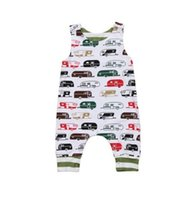 Wholesale Baby Clothes Car Cartoon - 2018 Baby Jumpsuits Boys Girls Cartoon Car Babies Rompers Clothing Cute Sleeveless Toddler Romper Boutique Infant Onesies Clothes