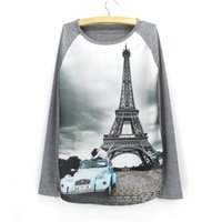 Wholesale Eiffel Tower Clothing - Fashion Eiffel Tower print women's sweatshirt 2016 new arrival long sleeve tracksuit girls Autumn clothes wholesale pullovers free shipping