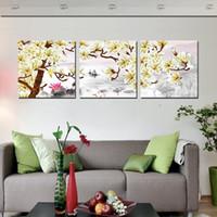 kelebek tuvale soyut toptan satış-Tuval Üzerine 3 Adet çerçevesiz Baskılar Soyut karikatür çiçek ay laleler kelebek ahşap köprü orkide fırıldak ev köpek ağaç dalı