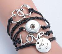 el yapımı aşk düğmesi toptan satış-Yeni çift kalp aşk love in love noosa düğme bilezik alaşım pu leater dokuma el yapımı snap düğmesi bilezik diy jelwery DIY aksesuarları