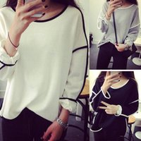 Wholesale Just For Ladies - New Women Lady Loose Geometry Pullover Shirt Long Sleeve Top Shirts Blouse Just for you