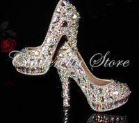 marfim seda sapatos de noiva venda por atacado-Mais novo cristal de strass Brilhante de salto alto do sexo feminino dama da Mulher Mulheres Nupcial Noite Prom party club Bar Sapatos de Casamento da dama de honra