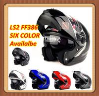 Wholesale China Flip Up Helmets - Wholesale-the motorcycle capacete helmet LS2 FF386 386 Modular Full Face Flip Up helmet Dual lens glass Visor china Motorcycle lens Helmet