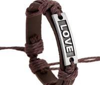 Wholesale 2015 latest version punk style genuine leather bracelet handmade Alloy LOVE rope adjustable bracelet
