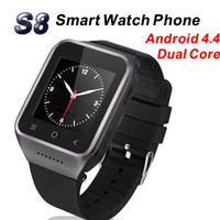 Wholesale Gsm Watch Phone 3g - Android 4.4 Dual Core Smart Watch Mobile Phone ZGPAX S8 3G GSM Wristwatch Phones Built-in GPS Camera Support Wifi Bluetooth