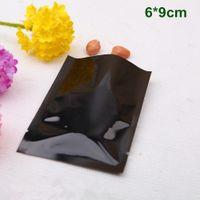 "Wholesale vacuum bags for food - 6*9cm (2.4*3.5"") Open Top Black Aluminum Foil Bag Mylar Heat Seal Vacuum Food Storage Packing Bag Pouch For Sugar Tea Coffee Snack Packaging"