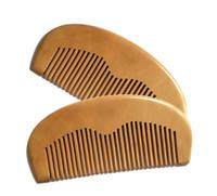 pente de madeira natural venda por atacado-Os pentes de madeira 11.5 * 5.5 * 1CM da barba do bolso reto feito a mão natural do pente de madeira do pêssego