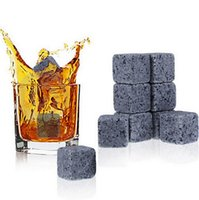 Wholesale Great Shipping - 150set=1350PCS Whisky stones,whiskey stone with velvet bag whiskey rock stone Great gift Free shipping
