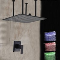 """Wholesale Rain Shower Sets Bronze - Wholesale And Retail Luxury LED Colors Oil Rubbed Bronze 20"""" Rain Shower Faucet Set Vavle Mixer Tap Single Handle"""