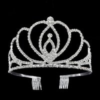 Wholesale Luxury Crystal Hair Clip - Crystal Bridal Tiara Party Pageant Luxury crown Silver Plated Wedding Crowns Hairband Cheap Hair Clips Wedding Hair Accessories Of Tiaras
