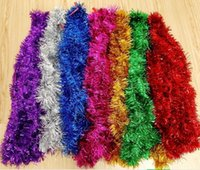 Wholesale Wholesale Christmas Tinsel - hot hot hot 50Strings 2.0M NEW CHRISTMAS GARLAND Tinsel 7 colors Color bar garlands
