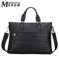 Wholesale 13 Inch Leather Messenger Bag - MARK SAXTON Men's Casual Handbag Fashion Leather Briefcase Shoulder Messenger Bag 13 Inches Laptop Bag Business Bag MK47007