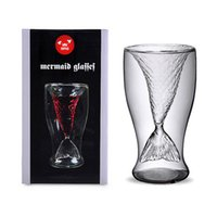 Wholesale Glass Tale - 2014 High quality Creative fairy tale Crystal Mermaid Shot Glass Vodka Wine Glasses Double Layers Beer Cup with factory price Free Shipping