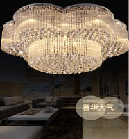 Wholesale Office Lobby Design - New design flush mount contemporary large chandeliers crystal lights Dia100*H420mm modern luxury hotel lobby chandelier lamps