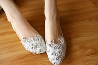 Wholesale Handmade Ballet Pumps - White Handmade Lace Crystals Wedding Shoes Bridal Accessories Flat Heel Evening Party Prom Lady's Shoes Dance Shoes Lace Bridal Flat Shoe