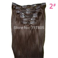 Wholesale Natural Human Hair Extension g Pieces Set Straight Clip in Hair Extensions quot Dark Brown Blonde Clip on
