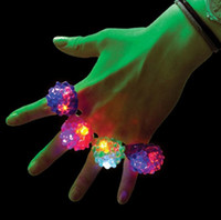 Wholesale Strawberry Led Light Flash Ring - LED Flashing Strawberry Finger Ring Bar DJ Rave Toys Light Up Elastic Rubber Blinking Ring Prom Party Christmas Gift
