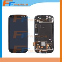 Wholesale Original Galaxy S3 Lcd Black - Original LCD for Samsung Galaxy S3 i9300 i9305 L710 R530 i535 T999 i747 White black blue Touch LCD Screen Digitizer + Frame
