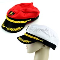 Wholesale Navy Sailor Dress - Wholesale-New Adult Peaked Skipper Navy Captain Boating Sailor Hat Cap Fancy Dress Costume