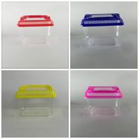 ingrosso case di animale di plastica-Gabbia per criceti Simpatica piccola casa per coniglietti portatile Ciotola per pesci rossi in plastica trasparente colorata Multi colori 1 35jj C R