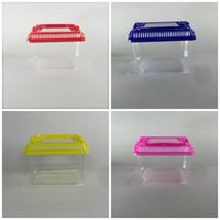Wholesale cute hamsters online - Hamster Cage Cute Little Pet Rabbit House Portable Transparent Plastic Goldfish Bowl Multi Colors jj C R