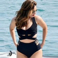 Wholesale plus size lady swimwear - Plus Size Black Bikinis Vintage High Waist Swimwear Women Ladies Push Up Bandage Bikini Set Brazilian Swimsuit Bathing Suit CCF0240