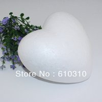 Wholesale Wholesale Heart Styrofoam - Free shiping wholesale 15cm natural white eco-friendly styrofoam heart diy handmade painted accessory(12pcs lot)
