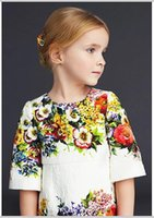 Wholesale Italy Girl Dress - New Spring Big Girls Princess Dress Luxury Italy Floral Jacquard Dress Sleeveless Cotton Children Clothing Kids Dresses 10815