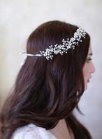Wholesale Tiaras Hair Jewelery - Free Shipping Bohemian Bridal Tiara Wedding Jewelery Hair Accessories Elegant Headpieces Frontlet Hair Band headbands for Bridal CPA457