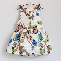 Wholesale Baby Girl Clothes Owls - Summer Girls owl gallus dress 2015 new Lovely Girl's Sleeveless dress baby clothes B001