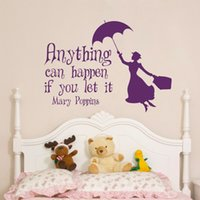 Wholesale Inspirational Quotes Wall Stickers - Wall Decal Mary Poppins Inspirational Quote Anything Can Happen If You Let It Vinyl Stickers Nursery Decals Kids Room Art Mural