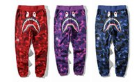 Wholesale Japan Fashion Pants Men - Japan Camo Shark Pant Trousers Fashion WGM Harem Pants Fleece Sportswear Long Trousers Jogger Running Sweatpant