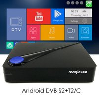 Wholesale T2 Receiver - Magicsee C300 Android DVB Quad core Amlogic S905D Android TV BOX DVB-S2 DVB-T2 C Digital Satellite Receiver CCcam IPTV 4K 60fps H.265 HEVC