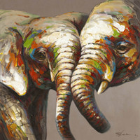 Wholesale Hand Painted Elephant - Creative Animal Frog and Elephant Hand-painted Oil Painting on Canvas Mural Wall Art Picture for Office Home Living Bedroom Decoration