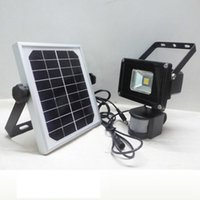 Wholesale solar spot flood lights for sale - Group buy New W Solar powered LED Flood light with PIR Motion sensor garden Security path wall lamp outdoor led spot lighting