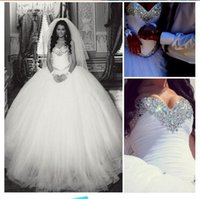 Wholesale Shine Wedding Gown - 2016 Gorgeous Sweetheart Neck Ball Gown Wedding Dresses Shining Crystal Sequins Sleeveless Floor-Length Ivory Tulle Bridal Gowns Custom