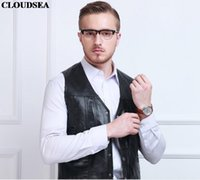Wholesale Middle Age Mens Leather Jackets - Fall-Genuine leather vest 2015 middle-aged male sheepskin multi-pockets photography vests mens leather clothes biker jacket man