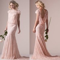 Wholesale Cymbeline Dress - Vintage Pastels Coral 2015 New Sheath Wedding Dresses with Sheer High Neck Short Sleeve Backless Applique Tulle Lace Bridal Gowns Cymbeline